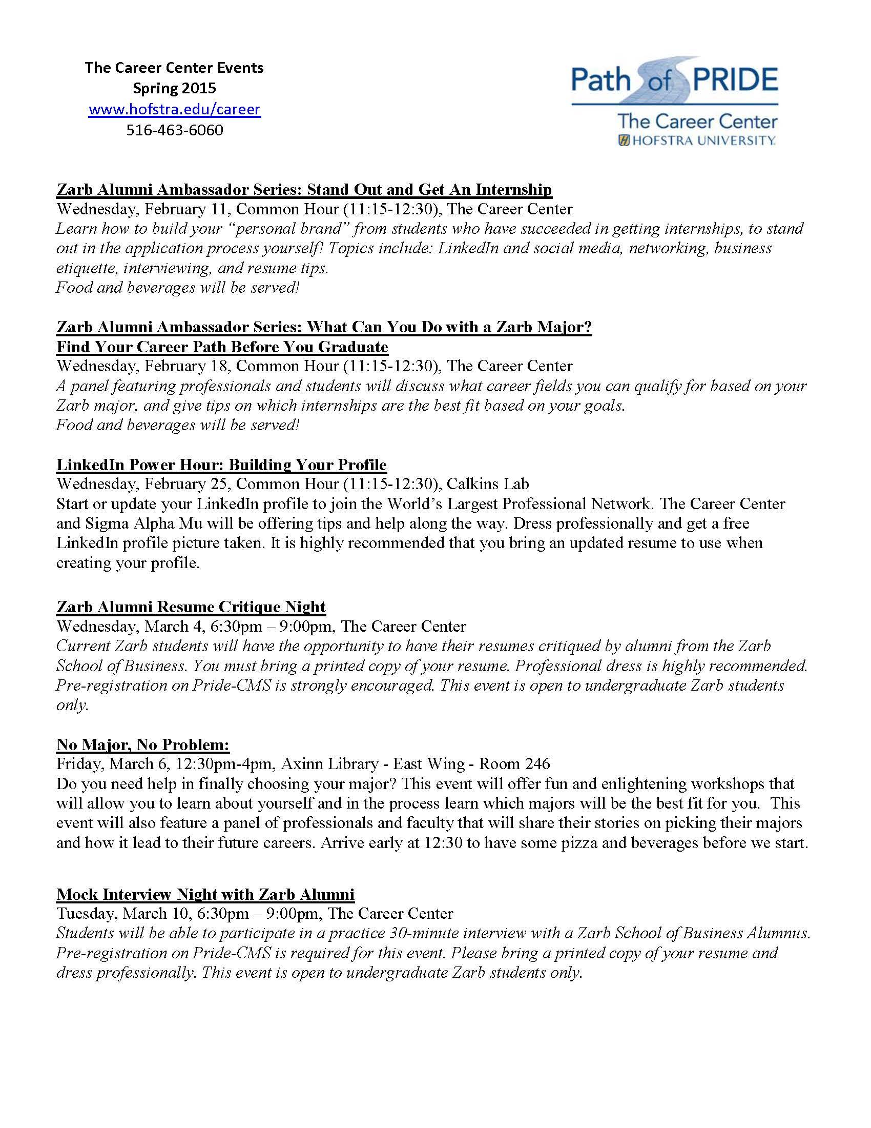 Hofstra Career Center Resume