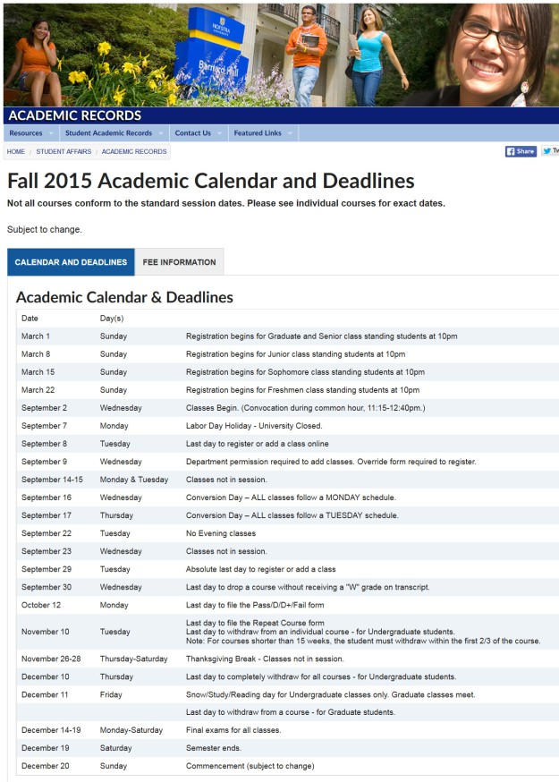 Hofstra Fall 2015 Schedule