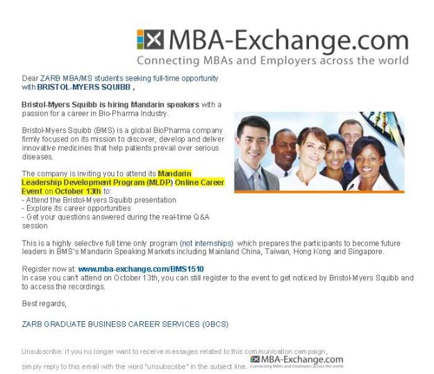 Bristol-Myers Squibb MBA-Exchange