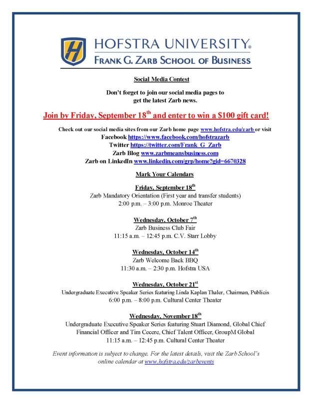 Zarb School 2015 Flyer